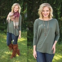 Pretty in Piko Quarter Sleeve Top in Army - Piko