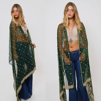 Vintage 90 Emerald Green Sheer EMBROIDERED Scarf Ethnic BEADED Scarf Extra Long Sari Scarf Boho Shawl Hippie Wrap