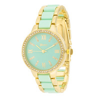 Mint Gold Crystal Watch