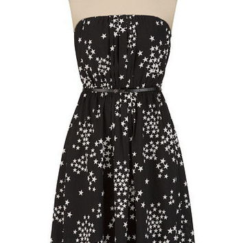 Belted Star Print Dress