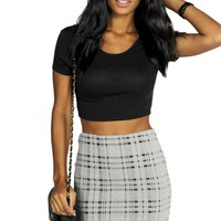 Annera Knitted Checked Jacquard Mini Skirt