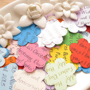 500 Personalised Flower Confetti / Customized Flowers / Various Colours / Rustic Wedding, Table Decor