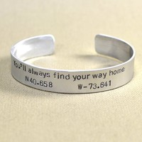 back to school - silver cuff bracelet - gps bracelet - latitude longitude jewelry - teachers gift