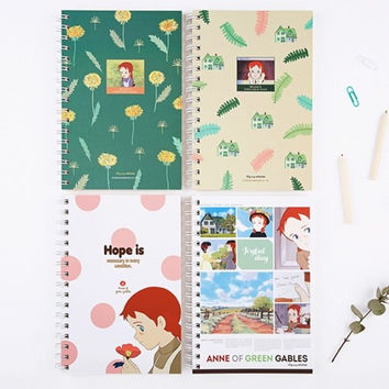 Anne of green gables spiral lined and grid notebook