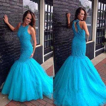 Vestido New Light Blue Mermaid Prom Dress 2017 Sleeveless Beading Ruffled Tulle Long Pregnant Evening Dress Robe De Soiree