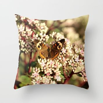 Buckeye Butterfly On Pale Pink Flowers Throw Pillow by Theresa Campbell D'August Art