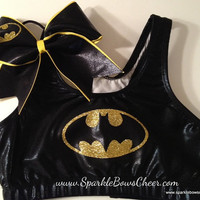 Batty Super Hero Metallic Sports Bra and Bow by SparkleBowsCheer