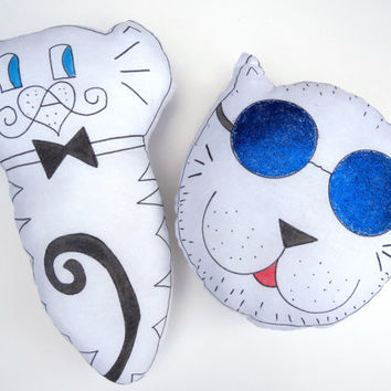 2 piece Plush Cat Pillow Toy Nursery Decor Decorative Dog Cat Soft Sculpture Hand drawn Pillows Animal Totem Handpainted Fiber Art Gift
