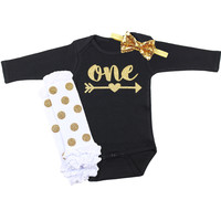 Baby Girl First Birthday Outfit, Black, White & Gold 1st birthday Onesuit with Arrow | Gold Polka Dot Leg Warmers with Gold Sequin Bow