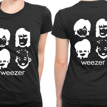 MDIG1GW Weezer Cartoon Black And White 2 Sided Womens T Shirt
