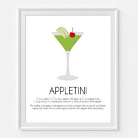 Appletini Wall Art, Martini Art, Bar Wall Decor, Home Bar Art, Cocktail Print, Alcohol Wall Art, Art For Bar, Drink Recipe Art, Bar Decor