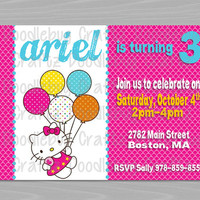 Printable Hello Kitty Custom Birthday Party Invitations - Personalized with 24hr turn-around. Printable 4x6 or 5x7 Image!