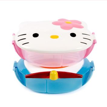 Portable Kids Children Lunch Box Microwave Food-Grade PP Lunch Boxes Cartoon Hello Kitty Bento Box Food Container for Student E