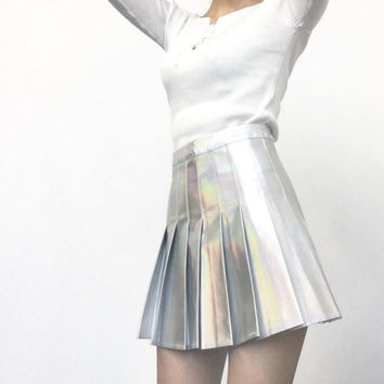 holographic iridescent hologram skirt