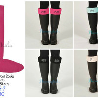 Monogram Boot Socks, Personalized Boot Cuff, Charles River Rainboot Socks Hot Pink, Christmas Gift Stocking Stuffer  Under 30 Dollars