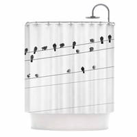 "Qing Ji ""Birds on Wire"" Black White Shower Curtain"