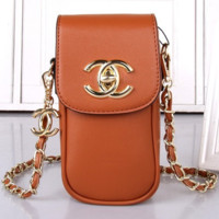CHANEL Women Shopping Leather Metal Chain Crossbody Satchel long paragraph G-MYJSY-BB