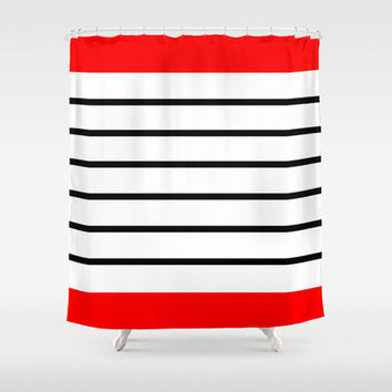 Red and Black Stripes Shower Curtain by Kat Mun