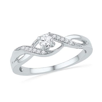 10kt White Gold Women's Round Diamond Solitaire Crossover Twist Promise Bridal Ring 1/6 Cttw - FREE Shipping (US/CAN)