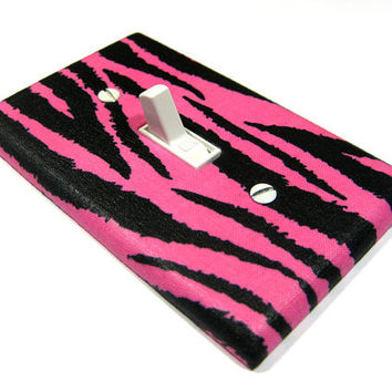 Hot Pink and Black Zebra Stripes Bedroom Decoration Light Switch Cover Outlet Dimmer Plate Switchplate Wall Decor