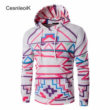 2017 Winter New Hot Products Man Clothes Long Sleeves Casual Slim Hoody Personality Fashion Neon Color Printed Mens Hoodies B132