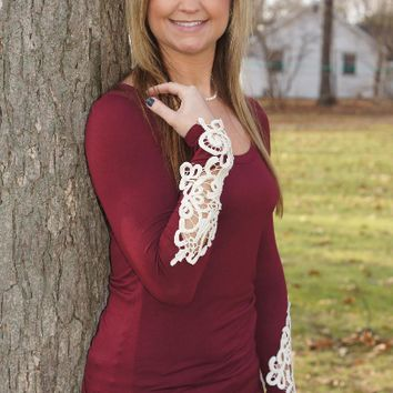 Red Wine Lace Sleeve Shirt