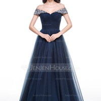 [US$ 166.49] Ball-Gown Off-the-Shoulder Floor-Length Tulle Evening Dress With Ruffle Beading (017056135)