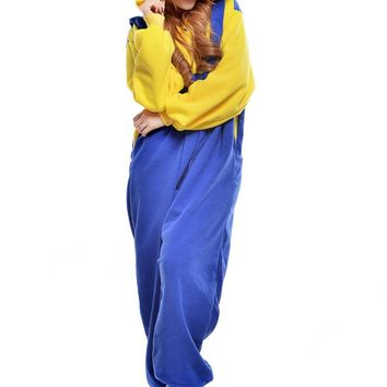 Blue Yellow Fleece Cartoon Onesuits Halloween Cosplay Costumes Adult Anime Kigurumi Pajamas Animal Jumpsuit Sleepsuit