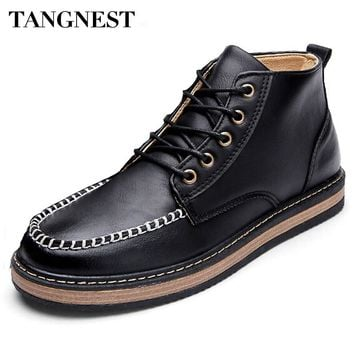 Tangnest Vintage Autumn Men High Top Shoes Men's Pu Leather Work Boots Man Casual Increasing Shoes Man Big Toe Boots XMR2346