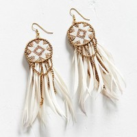 Fiona Paxton Dakota Beaded Feather Statement Earring | Urban Outfitters