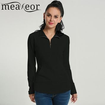 Meaneor Autumn Women Sweatshirts 2017 Fashion Long Sleeve Turn-Down Neck Solid Slim Half Zip Pocket Casual Hoodies Tops 4 color