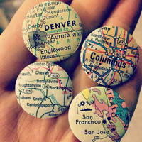 """CUSTOM LOCATION 1"""" Map Pinback Button - Pick Your Own Location - Wanderlust gift for the adventurous traveler - upcycled, travel, world"""
