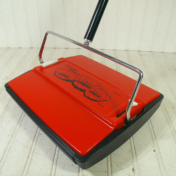 Vintage Bissell Gemini Carpet Sweeper – Groovy Mid Century Orange Manual Rug Cleaner - Retro Push Broom with 2 Self Cleaning Brushes & Bins