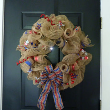 Burlap Deco Mesh Wreath, Large Wreath, Door Decor, Door Hanging, 4th Of July, Americana, Burlap Wreath, Red White Blue