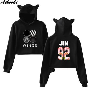 KPOP BTS Bangtan Boys Army Aikooki Korean   Women Cat ears Hooded Pullover Casual Cotton Hoodies  Sweatshirt Women's Long-sleeved short Hoodies AT_89_10