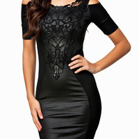 Black Off Shoulder with Floral Crochet Patchwork and Leather Accent Bodycon Dress