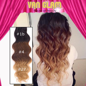"""Ombre / Clip In Hair Extensions / Wavy / 22"""""""