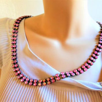 "Pink Double Strand Rhinestone Necklace, 40"" Long Lariat Necklace, Glamorous Necklace, Hollywood Style Jewelry, Glam Extra Long Necklace"