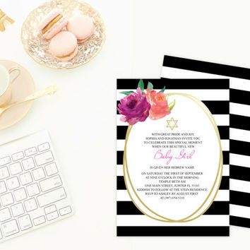 DIY Invitations ~ MS Word Template, Editable, Girl Naming Day Religious Ceremony, Pink Floral, Black Stripes Printable, Star of David Invite