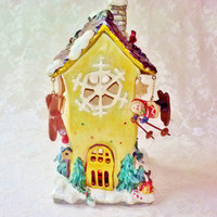 Ceramic Holiday Ski Lodge Candle Tea Light Holder Vintage Unused Christmas Porcelain Cottage Multi Color Snowman Ski House Burner Home Decor