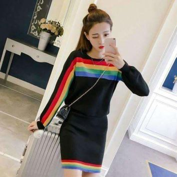 ICIKON3 two piece dress women vintage rainbow striped long sleeve pullover knitted split pencil skirt clothing set 4167