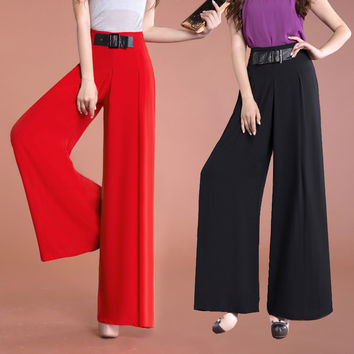 Casual Fashion Summer Spring Womens Red High Waisted Wide Leg Loose Trousers , Fall Woman Slim Black White Chiffon Flare Pants