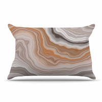 "KESS Original ""Burnt"" Orange Geological Pillow Sham"