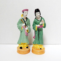Vintage Ceramic Oriental Figurines, Set of Two, Oriental Couple, Made in Occupied Japan
