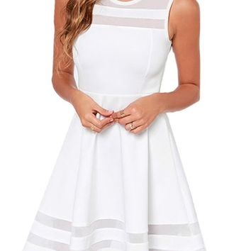 Sheinside Women's White Sleeveless Sheer Mesh Slim Dress
