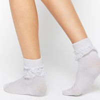 Daisy Street Ankle Socks With Lace Frill