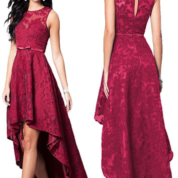 Lace High-Low Sleeveless Prom dresses Party Dress