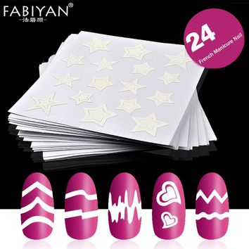 24Pcs/set Nail Art Sticker Stencil Tips Guides Form Fringe French Style Swirls Design Wave Line Adhesive Decals Polish Manicure