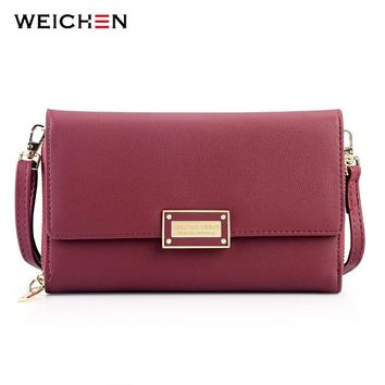 WEICHEN 2018 New Multi-functiona Ladies Shoulder Bag & Clutch Big Capacity Leather Female Wallet Purses Messenger Bag Women NEW