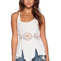 Free People Tropical Wave Crop Top in Cream